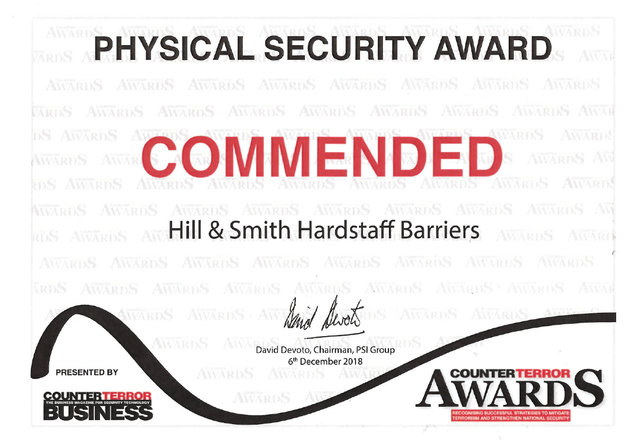 Hardstaff Commended for Physical Security Award at the Counter Terror Awards