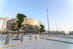 dubai arena day time with burj khalifa