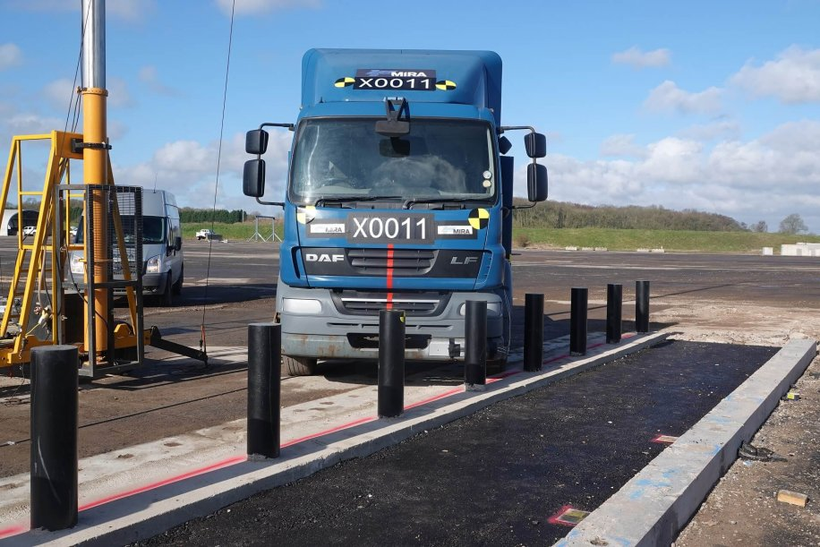 Safetyflex Barriers new Truckstopper Bridge Bollard being crash-tested to industry standards